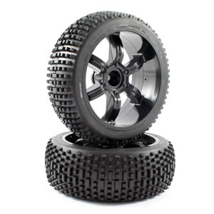 FTX NARROW BLOCK TYRE/6-SPOKE WHEEL MOUNTED OFFSET