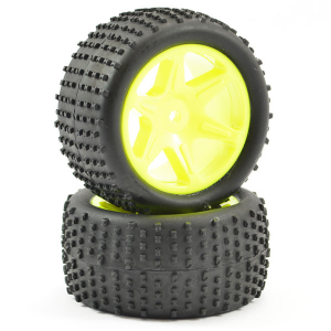 FTX COMET BUGGY REAR MOUNTED TYRE & WHEEL YELLOW