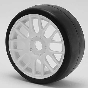 SWEEP 1/8TH GT R2 PRO COMPOUND SLICK GLUED 40DEG/WHITE WHEEL