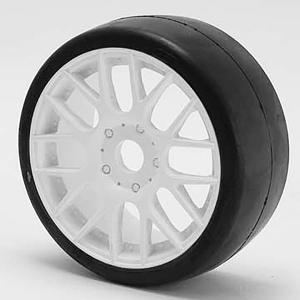 SWEEP 1/8TH GT R2 PRO COMPOUND SLICK GLUED 45DEG/WHITE WHEEL
