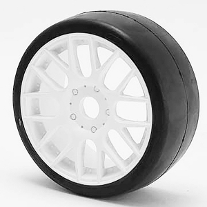 SWEEP 1/8TH GT R2 PRO COMPOUND SLICK GLUED 55DEG/WHITE WHEEL