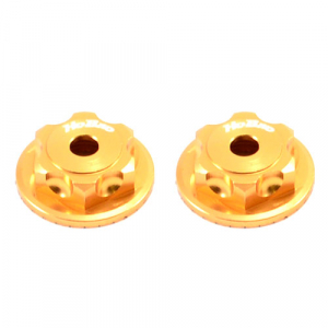 HOBAO MT DOUBLE LOCK DUSTPROOF WHEEL NUT/BUTTON SCREW (2) GOLD