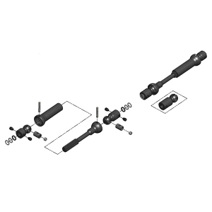 MIP X-DUTY CENTER DRIVE KIT, 115MM TO 140MM W/ 5MM HUBS, SCX10 TRAIL HONCHO, WRANGLER, CHEROKEE