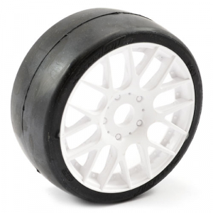 SWEEP 1/8TH EXP GT SLICK GLUED 45DEG TYRES W/BELT / EVO16 WHITE WHEELS / HIGH (PR)