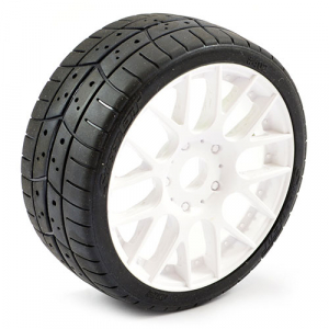 SWEEP 1/8TH EXP GT TREAD GLUED 45DEG TYRES W/BELT / EVO16 WHITE WHEELS / HIGH (PR)