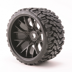 SWEEP TERRAIN CRUSHER BELTED T YRE BLACK 17MM WHEELS 1/2 OFFS